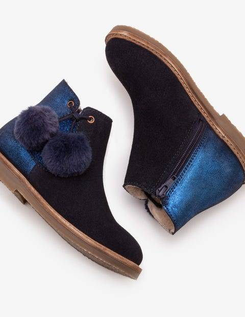 Mini Pompom Suede Boots Navy Girls Boden Leather Size: 35