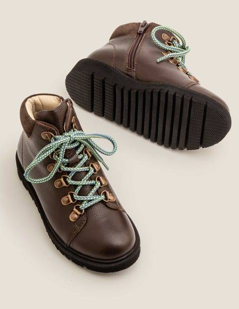 Mini Leather Chunky Boots Brown Boys Boden  - Male - Brown - Size: 36