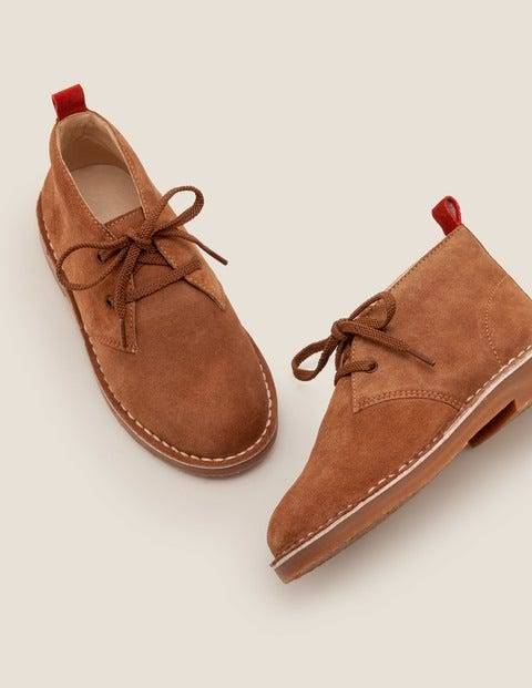 Mini Lace-up Desert Boots Brown Boys Boden  - Male - Tan - Size: 25