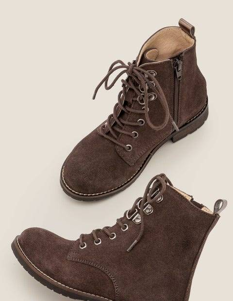 Mini Suede Lace Up Boots Grey Girls Boden  - Female - Grey - Size: 29