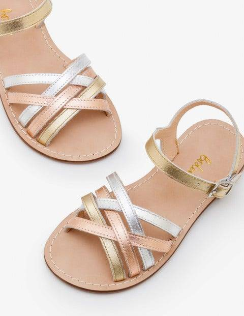 Mini Leather Strappy Sandals Gold Girls Boden  - Female - Gold - Size: 24