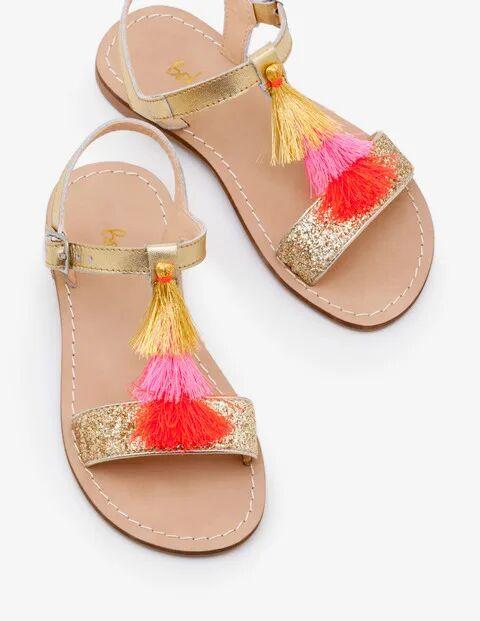 Johnnie b Tassel Sandals Gold Girls Boden Leather Size: 27