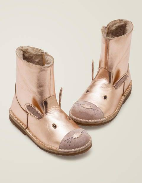 Mini Cosy Short Leather Boots Metallic Girls Boden  - Female - Gold pink - Size: 39