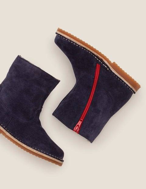 Mini Cosy Short Leather Boots Navy Girls Boden Leather Size: 26