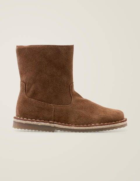 Mini Cosy Short Leather Boots Brown Girls Boden  - Female - Tan - Size: 24