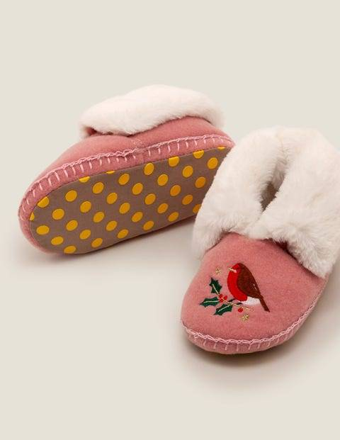 Mini Cosy Embroidered Slippers Pink Girls Boden  - Female - Pink - Size: 31