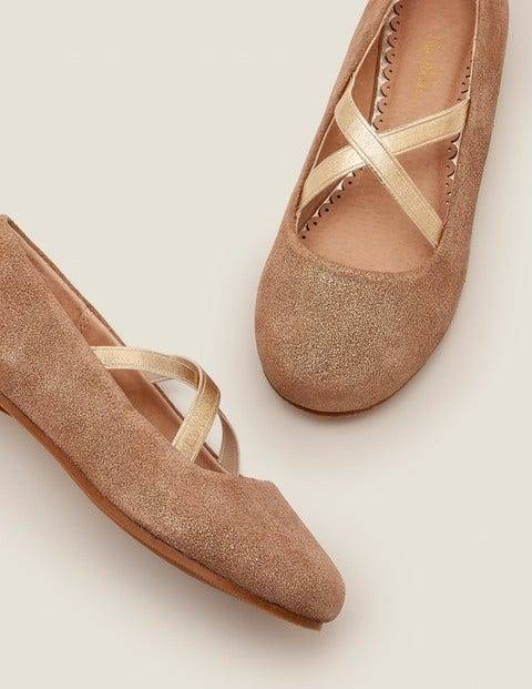 Mini Party Ballet Flats Gold Girls Boden  - Female - Gold - Size: 27
