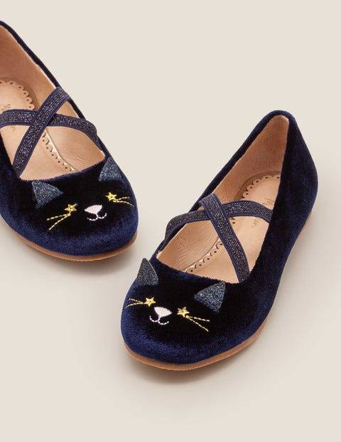 Mini Party Ballet Flats Navy Girls Boden  - Female - Blue - Size: 30