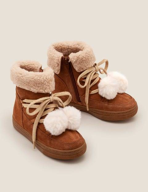 Mini Suede Cosy Boots Brown Girls Boden  - Female - Tan - Size: 33