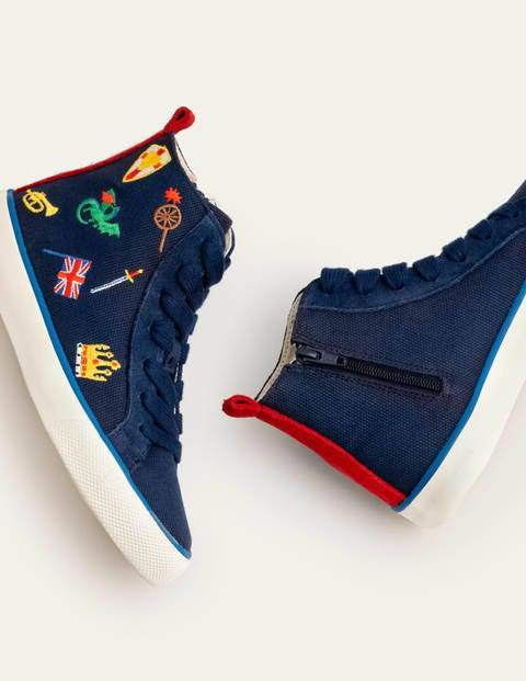 Mini High Tops Blue Boys Boden Suede Size: 28