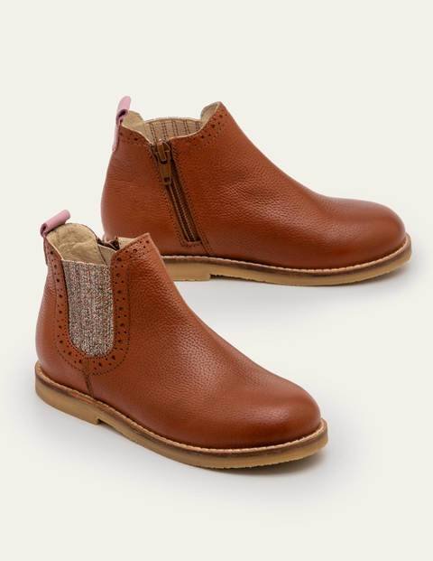 Mini Leather Chelsea Boots Brown Girls Boden Leather Size: 39