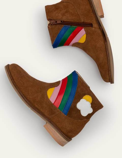 Mini Rainbow Scene Boots Brown Girls Boden Suede Size: 29