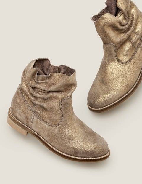 Mini Suede Slouchy Boots Metallic Girls Boden Leather Size: 28