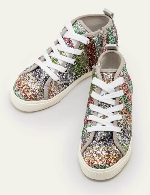 Mini Rainbow Glitter High Tops Multi Girls Boden Sole Size: 24