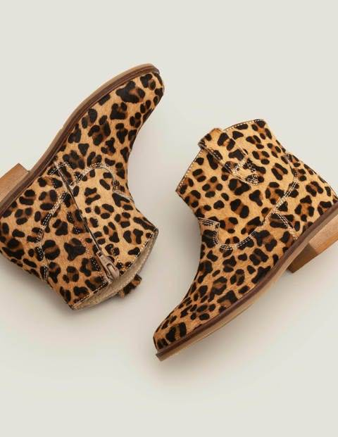 Mini Leather Western Boots Brown Girls Boden  - Female - Leopard - Size: 34
