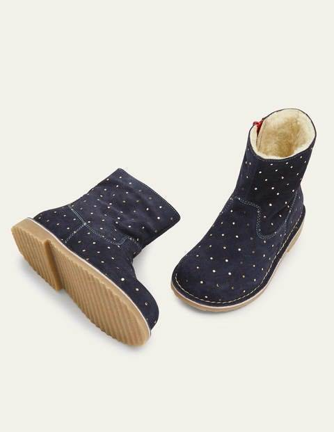 Mini Cosy Short Leather Boots Blue Girls Boden Leather Size: 38