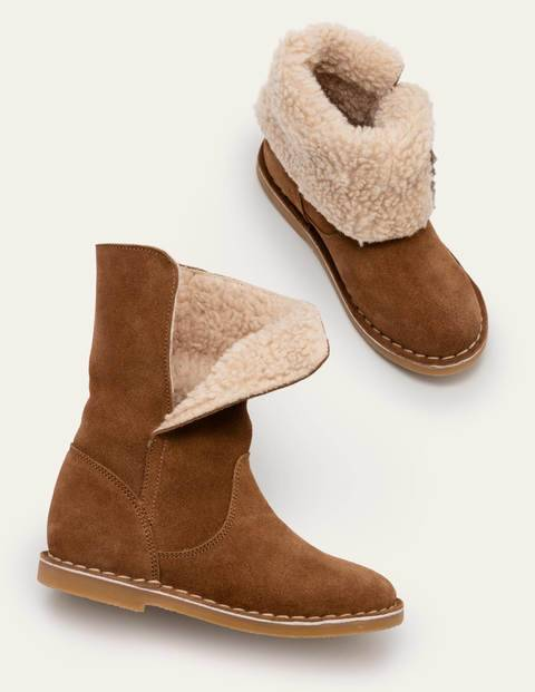 Mini Cosy Suede Boots Brown Girls Boden Suede Size: 30