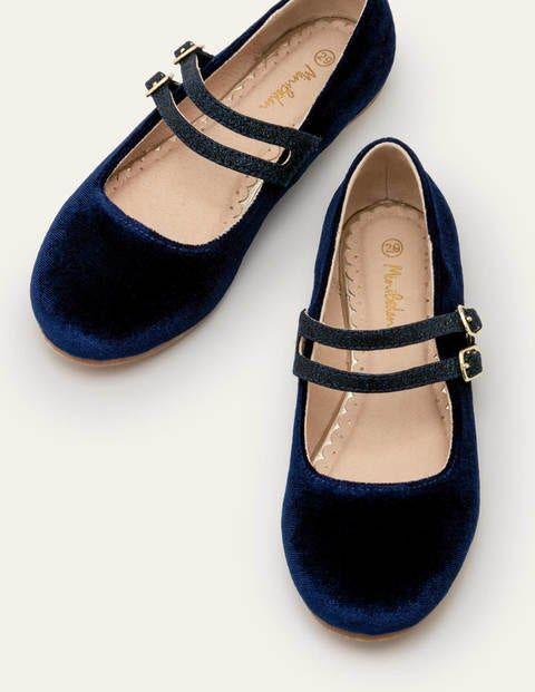 Mini Double Strap Shoes Blue Girls Boden Velvet Size: 24