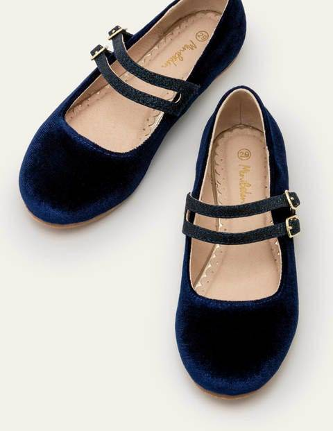 Mini Double Strap Shoes Blue Girls Boden Velvet Size: 26
