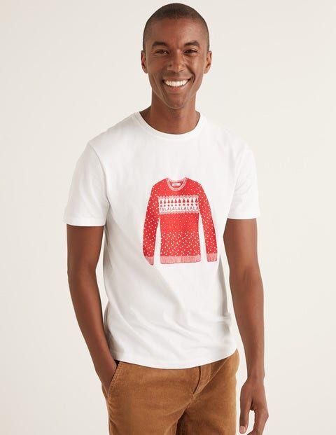 Boden Christmas T-shirt White Men Boden