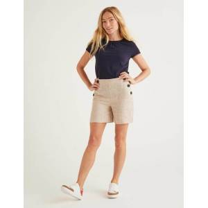 Boden Falmouth Linen Shorts Brown Women Boden  - Female - Multi Colored - Size: 22 6in