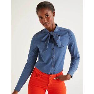 Boden Keira Bow Neck Shirt Denim Women Boden  - Female - Denim - Size: 18