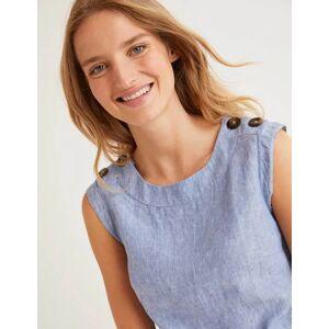 Boden Julianne Linen Shell Top Blue Women Boden Linen Size: 22 R