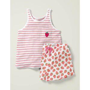 Johnnie b Fun Pocket Pyjama Set White Women Boden  - Female - Pink - Size: 11-12y
