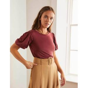 Boden Holly Puff Sleeve Jersey Top Brown Women Boden  - Female - Brown - Size: 12