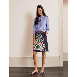 Boden Riley Embroidered Mini Skirt Navy Women Boden  - Female - Multi Colored - Size: 6