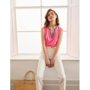 Boden Emma Embroidered Jersey Vest Pink Women Boden  - Female - Camel - Size: 22