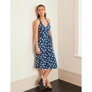 Boden Tess Halterneck Jersey Dress Blue Women Boden Jersey Size: 18 L