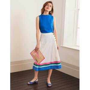 Boden Willa Button Midi Skirt Ivory Women Boden  - Female - Blue - Size: 22
