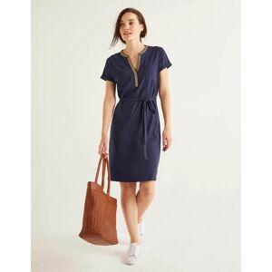 Boden Dora Embroidered Jersey Dress Navy Women Boden  - Female - Navy - Size: 18 R