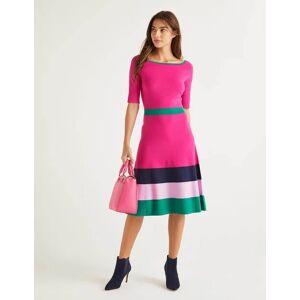 Boden Jemima Stripe Knitted Dress Pink Women Boden  - Female - Multi Colored - Size: 14