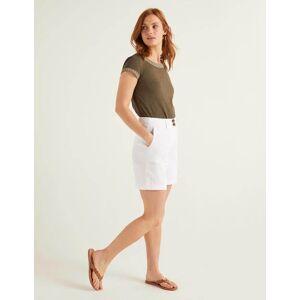 Boden Filey Seamed Pocket Shorts White Women Boden Linen Size: 22 6in