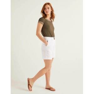 Boden Filey Seamed Pocket Shorts White Women Boden Linen Size: 22 6in