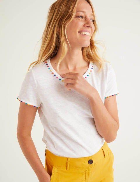 Boden Charlie Jersey T-shirt White Women Boden