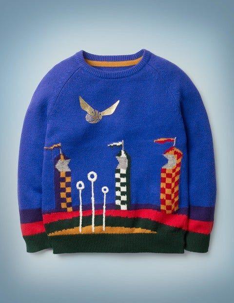 Mini Quidditch Match Jumper Blue Boys Boden  - Male - Blue - Size: 3-4y