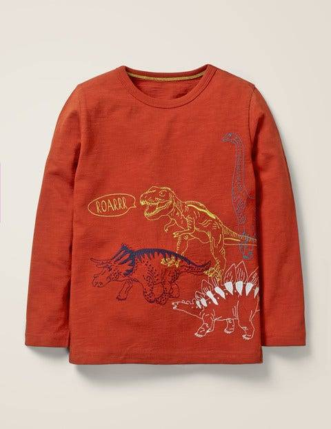 Mini Superstitch Animal T-shirt Brown Boys Boden