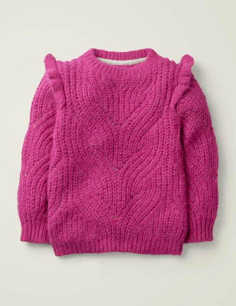 Johnnie b Cable Frill Jumper Pink Girls Boden  - Female - Pink - Size: 13-14y