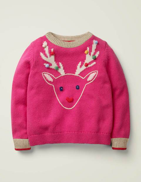Mini Cosy Christmas Day Jumper Pink Girls Boden  - Female - Pink - Size: 13-14y