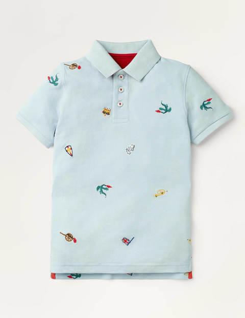 Mini Piqué Polo Shirt Blue Boys Boden Cotton Size: 13-14y
