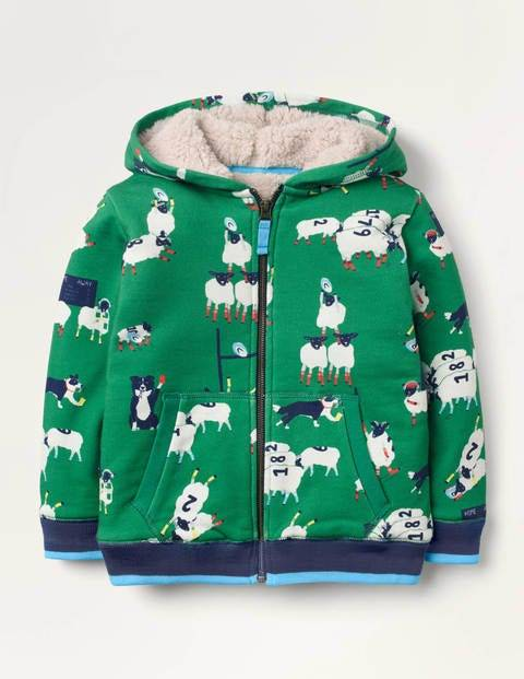 Mini Shaggy-lined Zip-up Hoodie Green Boys Boden  - Male - Green - Size: 6-7y