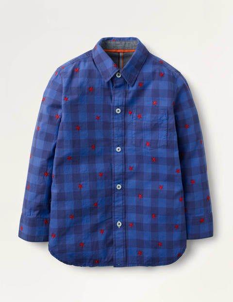 Mini Casual Twill Shirt Blue Boys Boden  - Male - Navy - Size: 13-14y