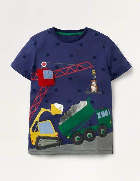 Mini Vehicle Scene T-shirt Blue Boys Boden Cotton Size: 11-12y