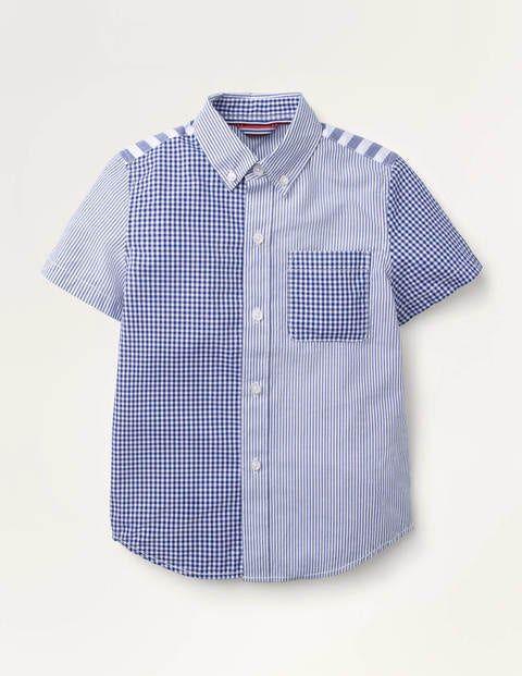 Mini Short-Sleeved Poplin Shirt Blue Boys Boden Cotton Size: 6-7y