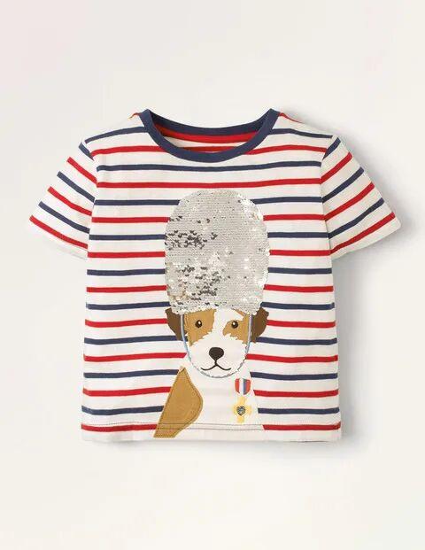 Mini Sequin Colour-change T-shirt Ivory Boys Boden Cotton Size: 4-5y