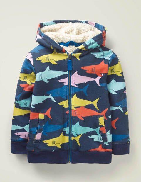 Mini Cosy Shaggy-lined Hoodie Multi Boys Boden  - Male - Multi Colored - Size: 15-16y