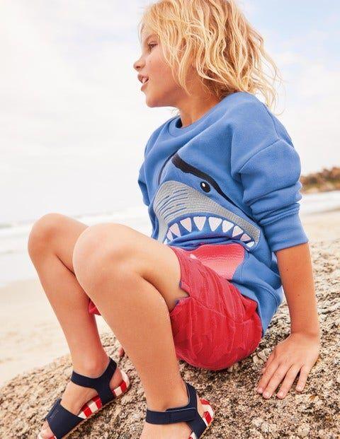 Mini Animal Superstitch Sweatshirt Blue Boys Boden  - Male - Blue - Size: 9-10y